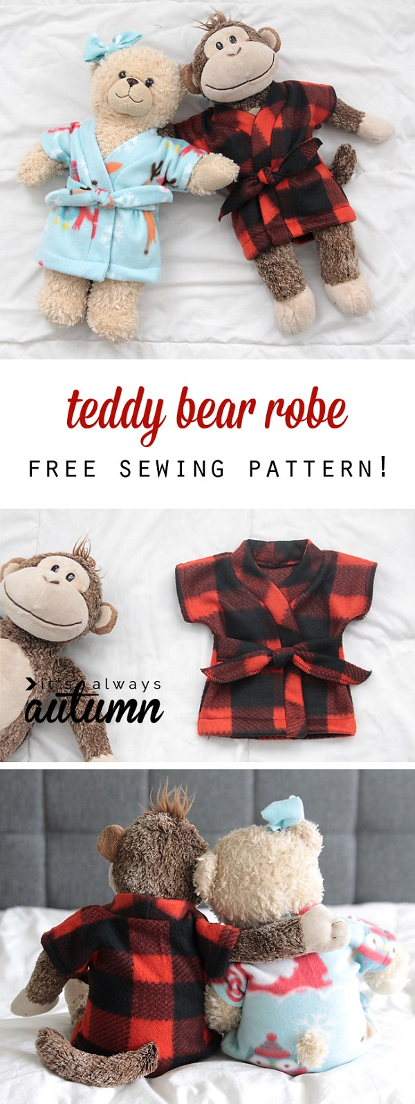 Free pattern: Robe for a teddy bear or stuffed animal