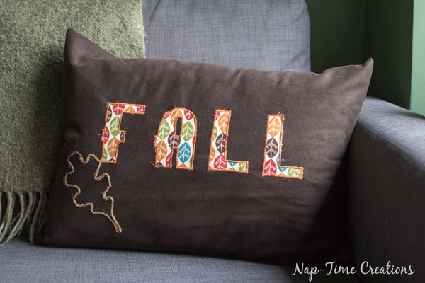 Tutorial Fall Pillow With Satin Stitch Applique Sewing