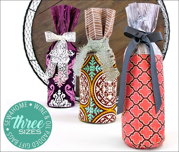 Tutorial: Wine or oil bottle gift bags in three sizes