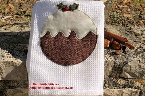 Tutorial: Figgy pudding appliqued tea towel