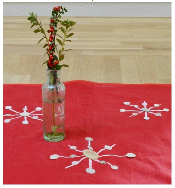 Tutorial: Button snowflake table runner from old pants