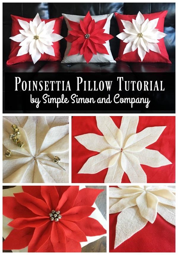 Free pattern: Poinsettia pillows