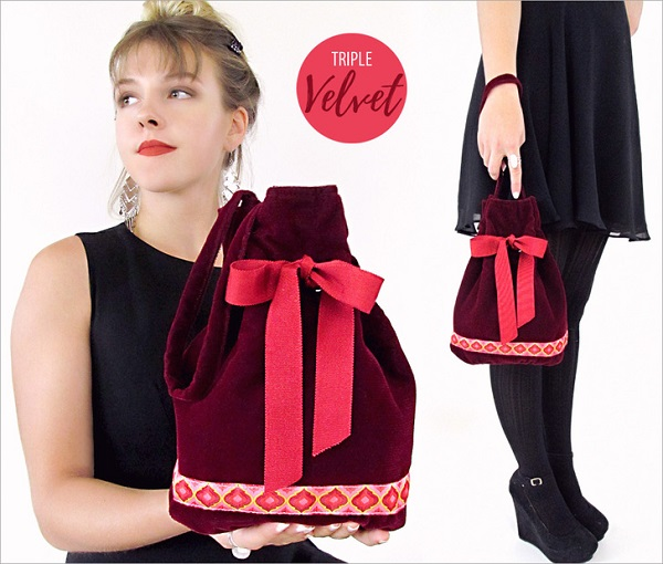 Free pattern: Velvet evening bag with wrist strap