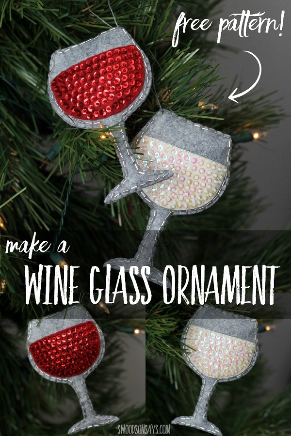 Free pattern: Wine glass Christmas ornament – Sewing