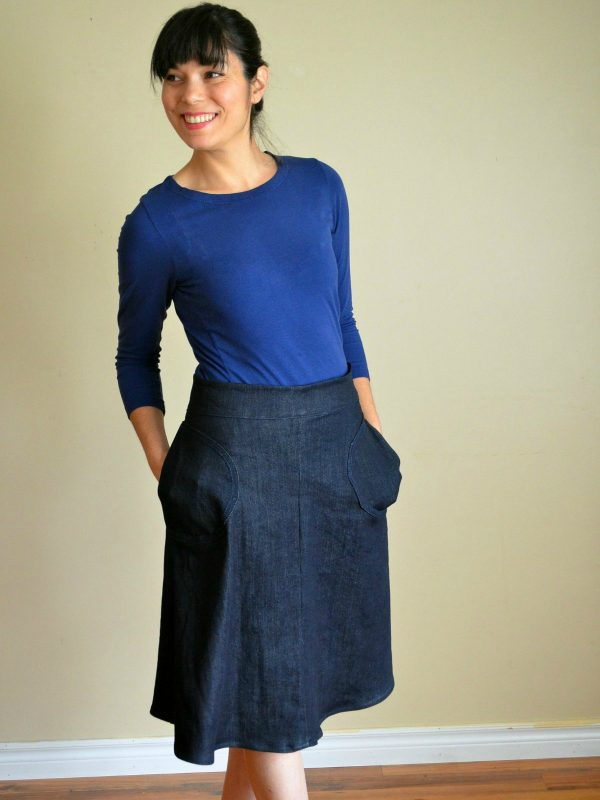 Free pattern: A-line skirt with wide tie waistband