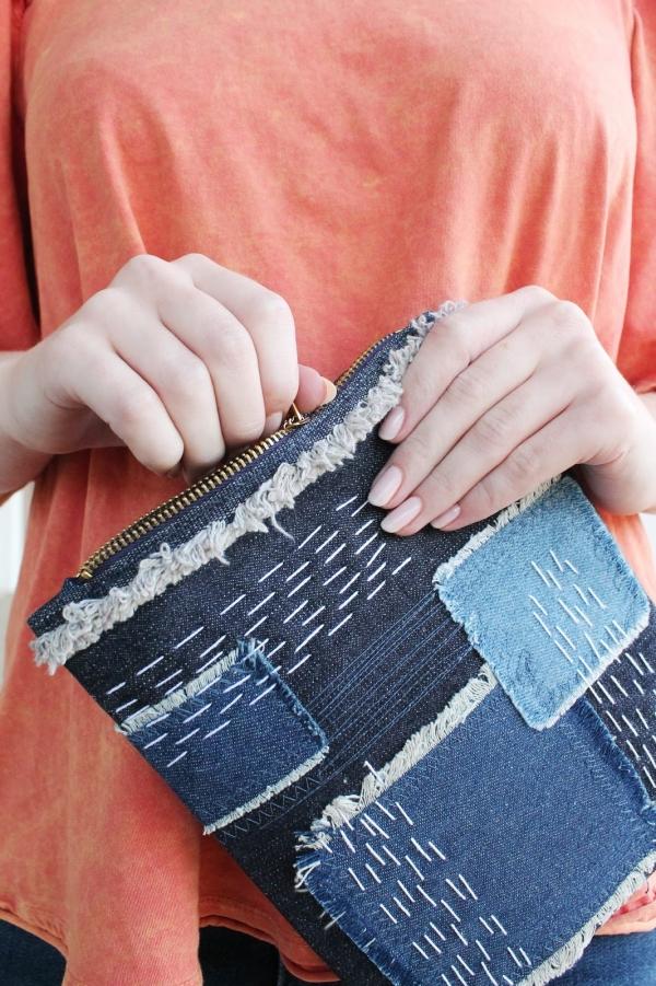 Tutorial: Sashiko denim patchwork clutch