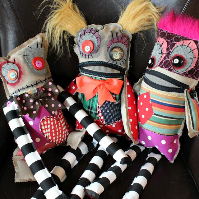 Tutorial: No-sew scrap fabric monster dolls