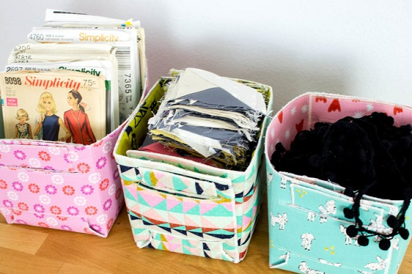 Free pattern: Fold-up reversible fat quarter baskets