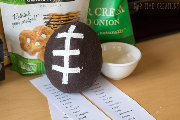 Tutorial: Mini felt football softie, plus a free printable family game