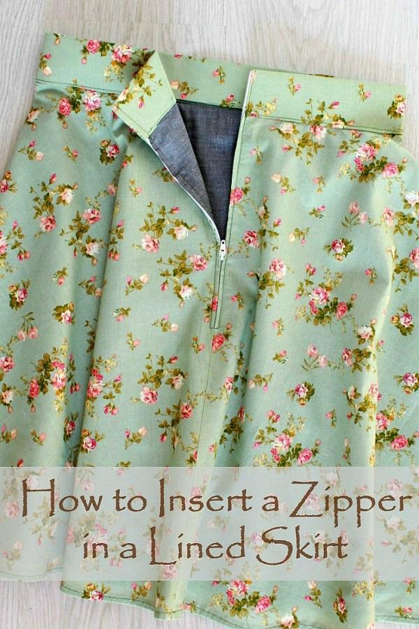 Tutorial: Sew a zipper in a lined skirt