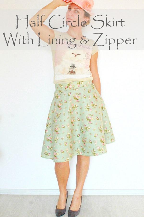 Tutorial: Lined half circle skirt
