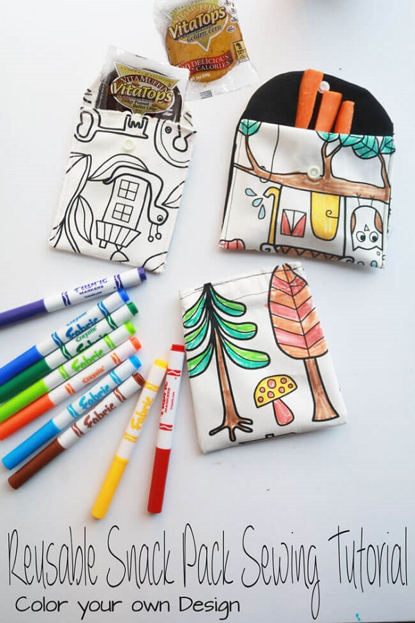 Tutorial Reusable fabric snack pouches