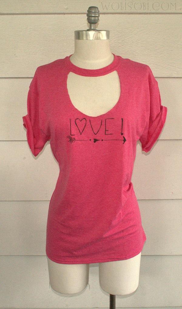 tutorial valentine�s cut out neck tshirt refashion � sewing