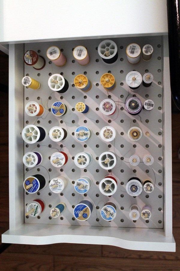 DIY pegboard thread storage in a drawer & DIY pegboard thread storage in a drawer u2013 Sewing