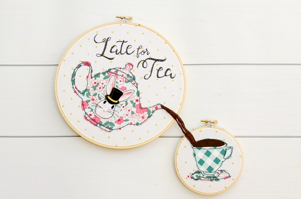 Tutorial and pattern: Late for Tea embroidery hoop art