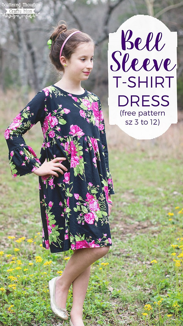 Tutorial and pattern: Girls' bell sleeve t-shirt dress