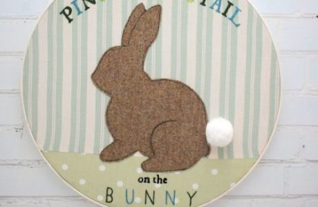 Tutorial and pattern: Pin the Tail on the Bunny embroidery hoop art