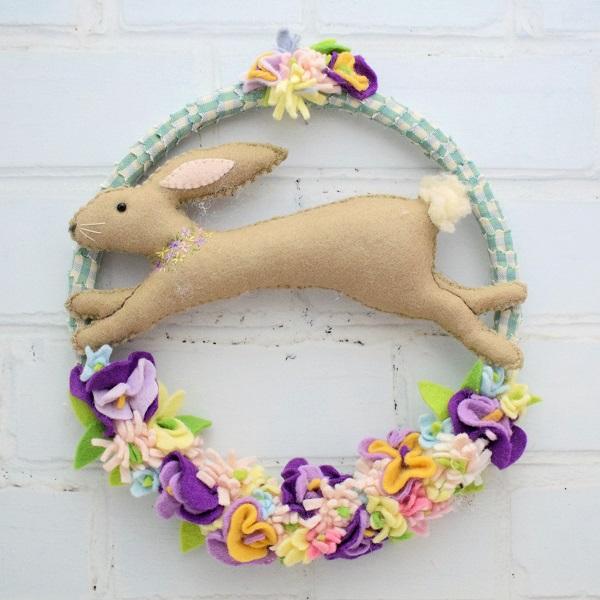 Tutorial and pattern Felt spring bunny wreath