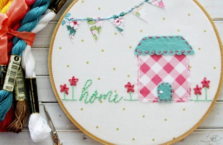 Tutorial and pattern: Home embroidery hoop art