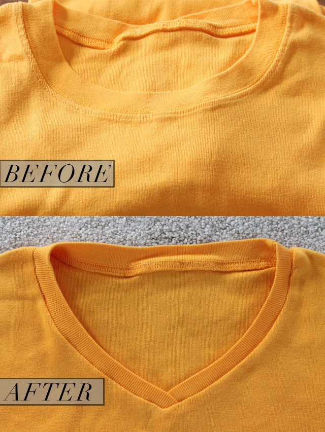 Tutorial: Convert a crew neck t-shirt to a v-neck