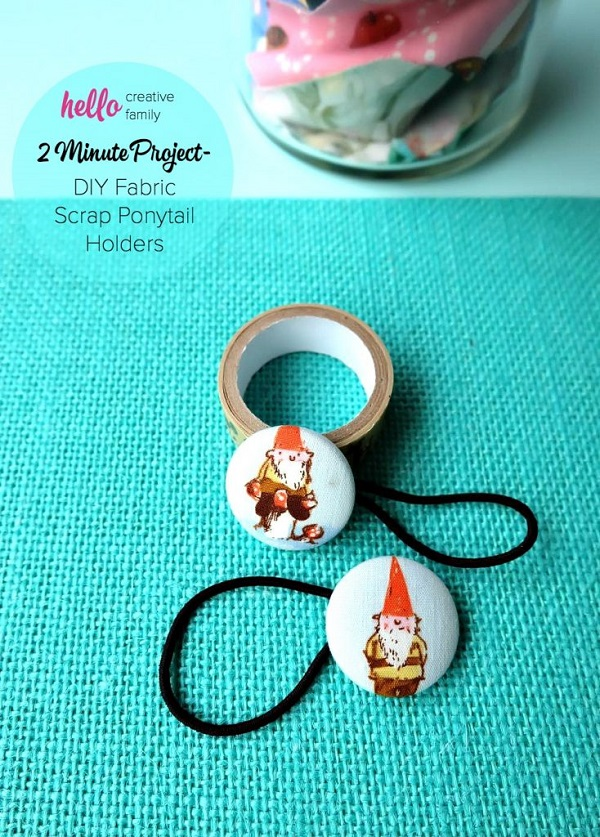 Tutorial: Fabric covered button ponytail holders