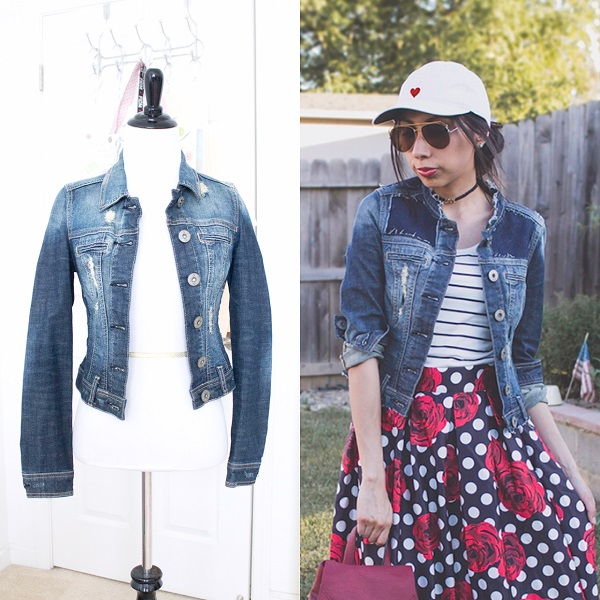 Tutorial Madewell inspired jean jacket refashion