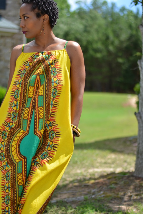 Tutorial A-line African print maxi dress