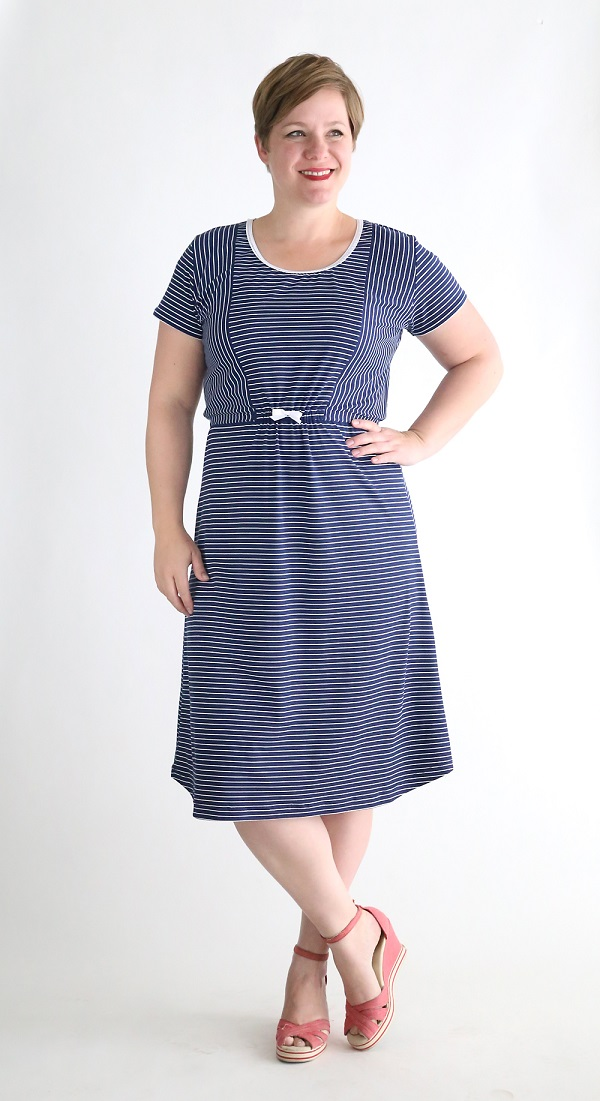 Tutorial and pattern striped midi t shirt dress sewing for Easy to make t shirt dress