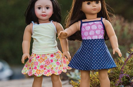 Tutorial and pattern: A-line skirt for an 18″ doll