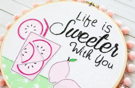 Tutorial: Pink lemonade summer embroidery hoop art