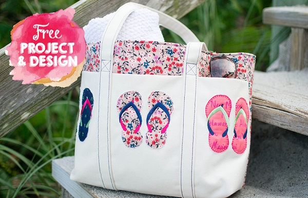 Tutorial: Summer tote with flip flop applique