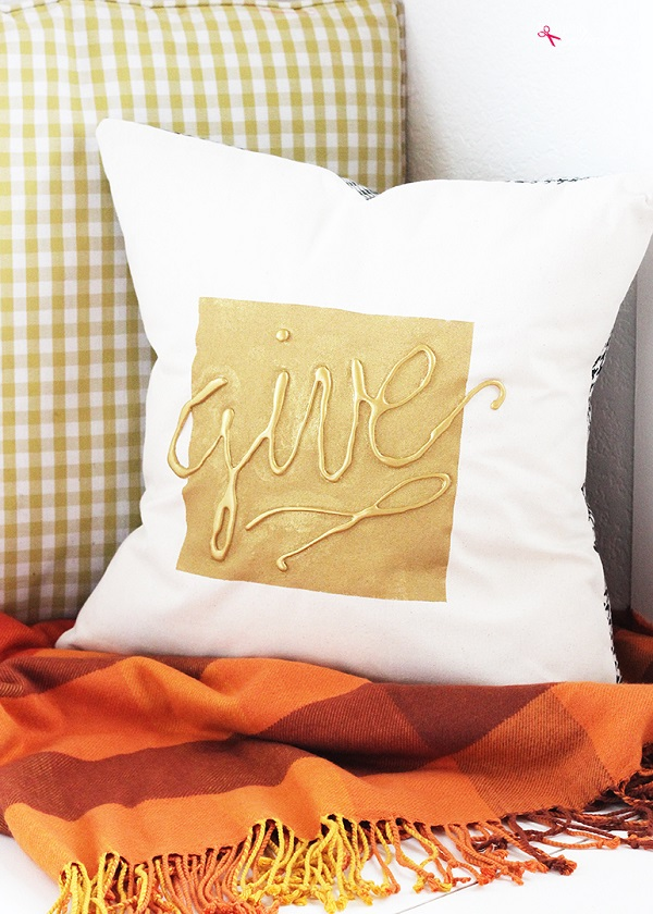 Throw Pillow Sewing Instructions : Tutorial: Autumn throw pillow with hot glue embellishment ? Sewing