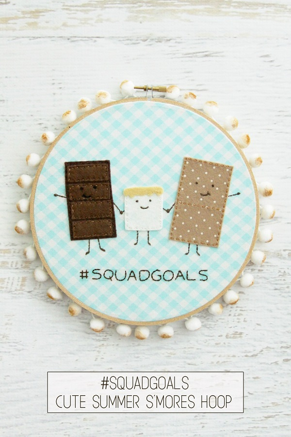 Tutorial and pattern: S'mores hoop art