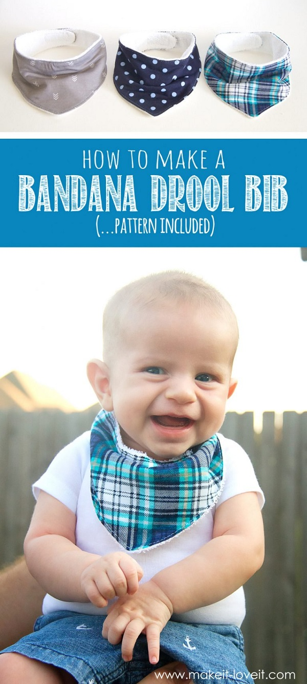 Tutorial and pattern: Bandana drool bib for baby
