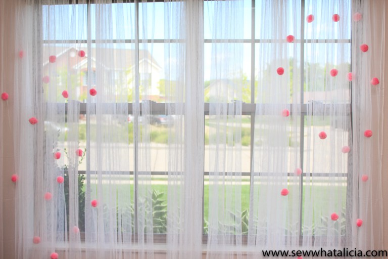 Alicia From Sew What Created These Dreamy Pom Curtains For Her Craft Room The Poms Sprinkled Across Sheer Look Like Little Pink