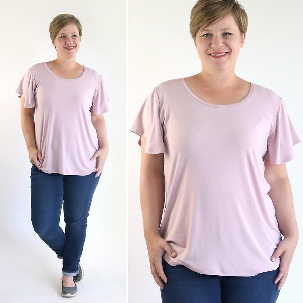 Tutorial and pattern: Women's flutter sleeve t-shirt