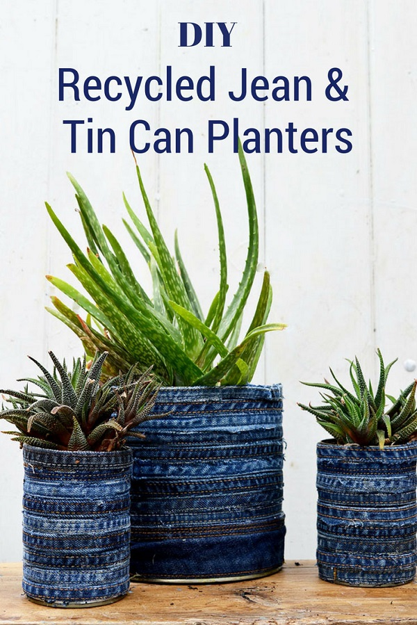 Tutorial: Recycled jeans tin can planters
