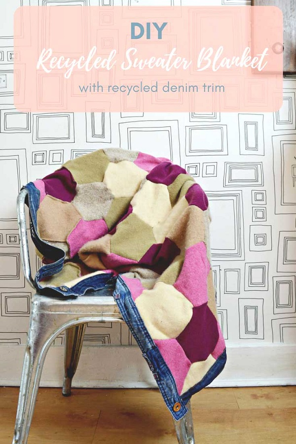 Tutorial Recycled sweater blanket with jeans binding
