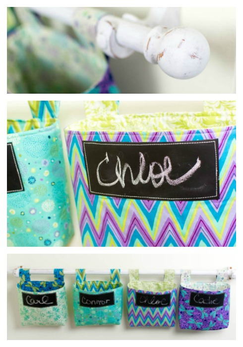 Tutorial: Hanging fabric storage pockets from fat quarters