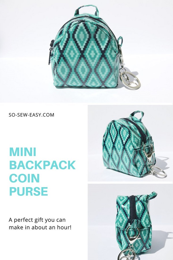 Tutorial and pattern Mini backpack coin purse Sewing