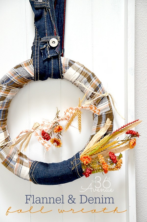 Tutorial: Flannel and recycled denim wreath