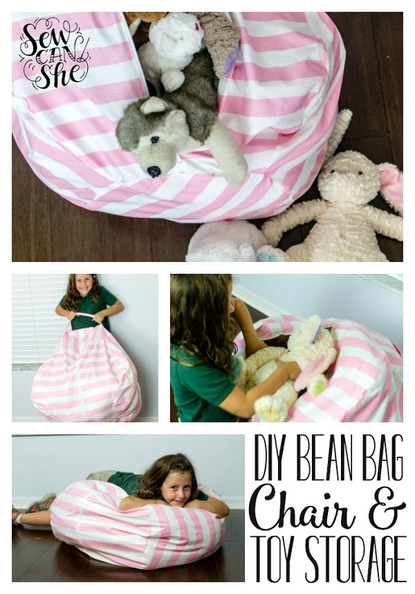 bean bag storage chair leather swivel desk tutorial with stuffed animal sewing