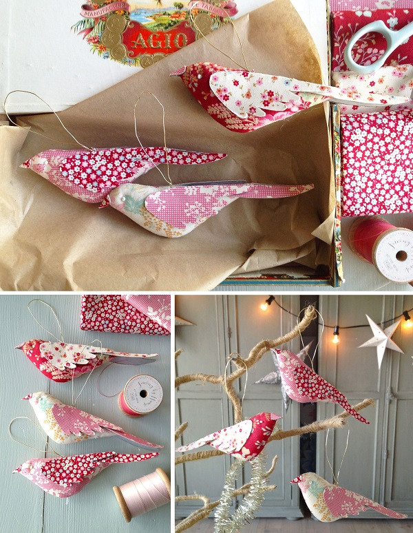 Tutorial and pattern: Fabric bird Christmas ornaments