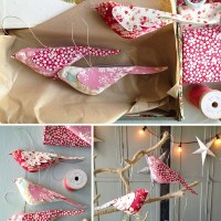 Sewing Pattern and Tutorial : Fabric bird Christmas ornaments