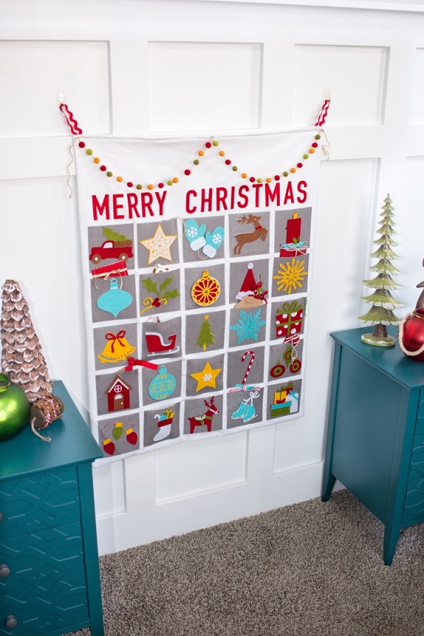 Sewn Advent Calendar Ideas : Tutorial felt pocket advent calendar sewing