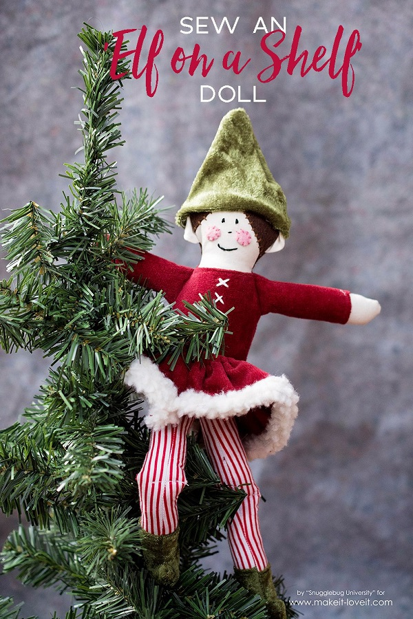 Tutorial and pattern: Elf on the Shelf soft fabric doll