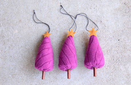 Tutorial and pattern: Upcycle an old sweater into cute Christmas tree ornaments