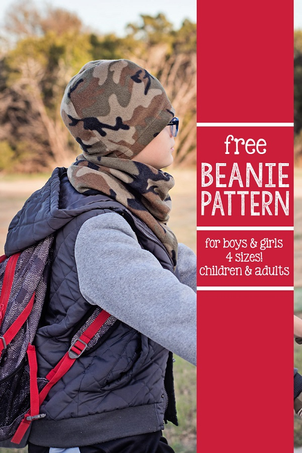 Tutorial and pattern: Fleece beanie hat in 4 sizes