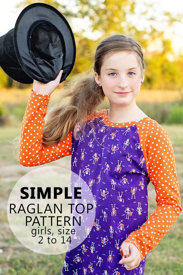 Tutorial and pattern: Girls raglan shirt  #sewing