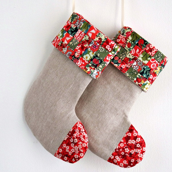 Tutorial: Patchwork cuff mini Christmas stocking